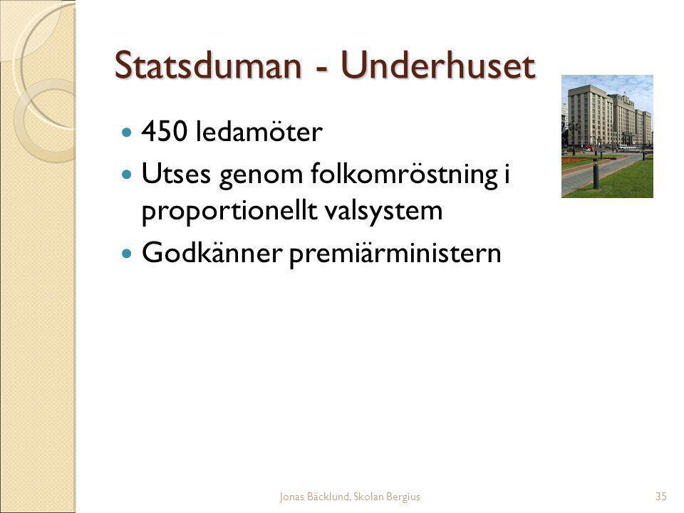 Jonas Bäcklund, Skolan Bergius35 Statsduman - Underhuset 450 ledamöter Utses genom folkomröstning i proportionellt valsystem Godkänner premiärministern