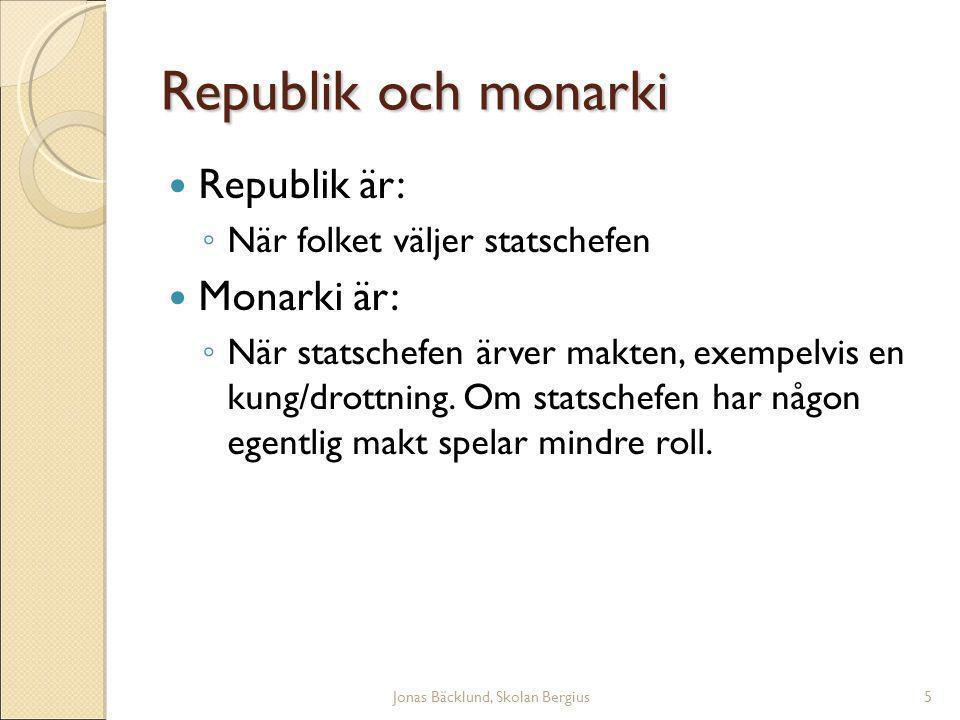 Jonas Bäcklund, Skolan Bergius5 Republik och monarki Republik är: ◦ När folket väljer statschefen Monarki är: ◦ När statschefen ärver makten, exempelvis en kung/drottning.