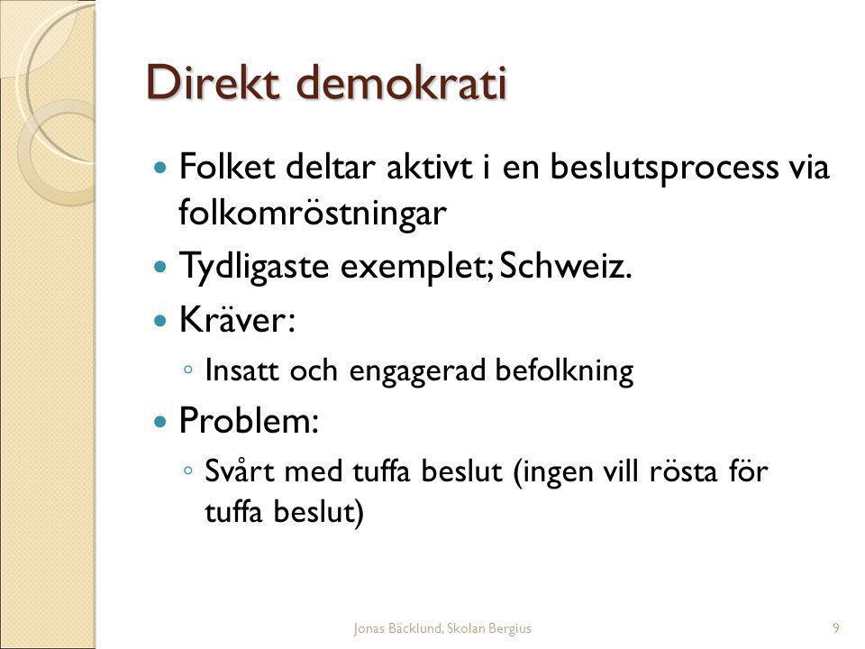 Jonas Bäcklund, Skolan Bergius9 Direkt demokrati Folket deltar aktivt i en beslutsprocess via folkomröstningar Tydligaste exemplet; Schweiz.
