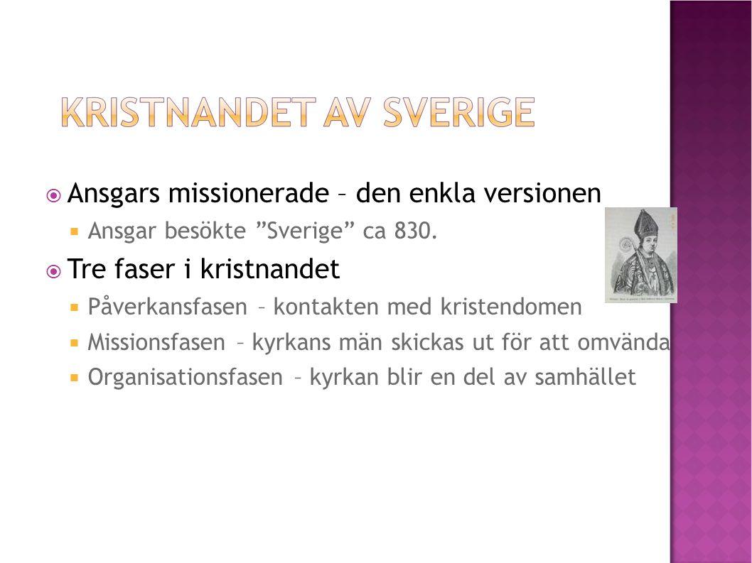 """ Ansgars missionerade – den enkla versionen  Ansgar besökte """"Sverige"""" ca 830.  Tre faser i kristnandet  Påverkansfasen – kontakten med kristendome"""
