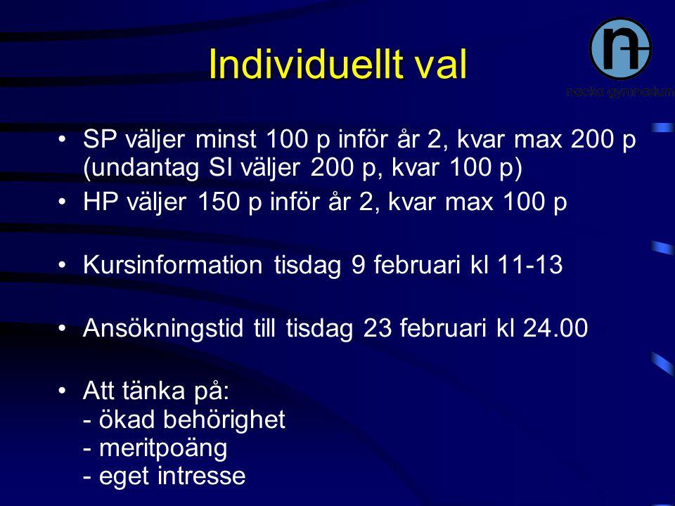 Individuellt Individuellt val SP väljer minst 100 p inför år 2, kvar max 200 p (undantag SI väljer 200 p, kvar 100 p) HP väljer 150 p inför år 2, kvar