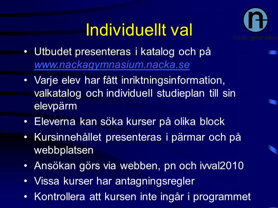 Individuellt val Utbudet presenteras i katalog och på www.nackagymnasium.nacka.se www.nackagymnasium.nacka.se Varje elev har fått inriktningsinformati