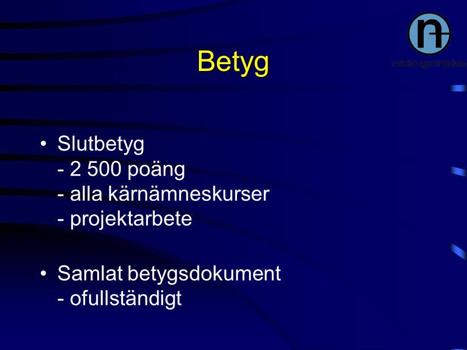 Betyg Slutbetyg - 2 500 poäng - alla kärnämneskurser - projektarbete Samlat betygsdokument - ofullständigt