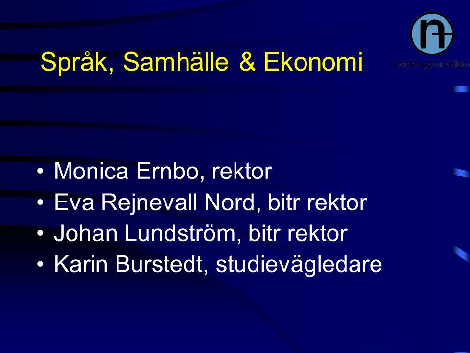 Språk, Samhälle & Ekonomi Monica Ernbo, rektor Eva Rejnevall Nord, bitr rektor Johan Lundström, bitr rektor Karin Burstedt, studievägledare