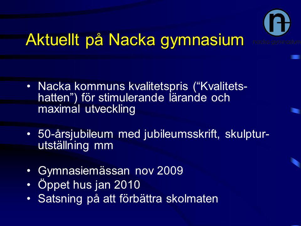 """Aktuellt på Nacka gymnasium Nacka kommuns kvalitetspris (""""Kvalitets- hatten"""") för stimulerande lärande och maximal utveckling 50-årsjubileum med jubil"""