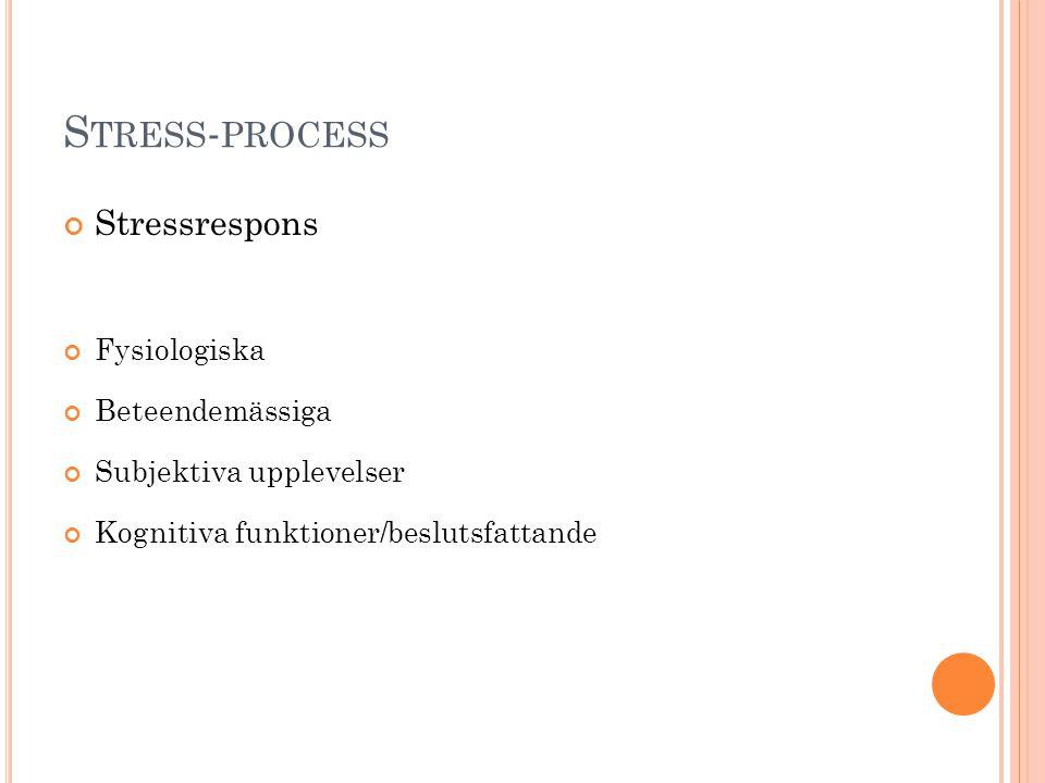 S TRESS - PROCESS Stressrespons Fysiologiska Beteendemässiga Subjektiva upplevelser Kognitiva funktioner/beslutsfattande