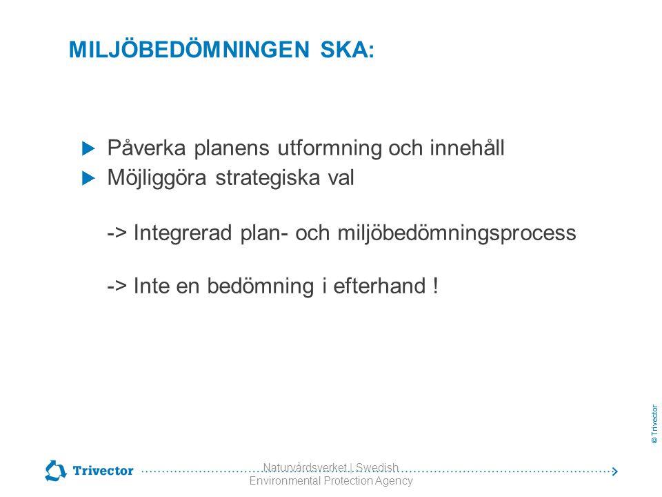 © Trivector Naturvårdsverket | Swedish Environmental Protection Agency MILJÖBEDÖMNINGEN SKA:  Påverka planens utformning och innehåll  Möjliggöra st