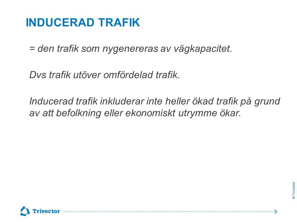© Trivector = den trafik som nygenereras av vägkapacitet. Dvs trafik utöver omfördelad trafik. Inducerad trafik inkluderar inte heller ökad trafik på