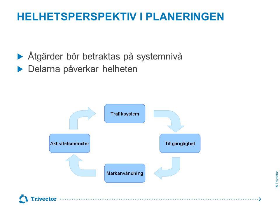 © Trivector HELHETSPERSPEKTIV I PLANERINGEN  Åtgärder bör betraktas på systemnivå  Delarna påverkar helheten