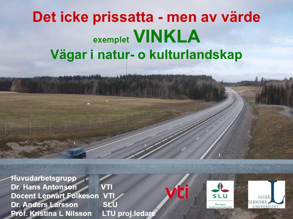 © Trivector Det icke prissatta - men av värde exemplet VINKLA Vägar i natur- o kulturlandskap Huvudarbetsgrupp Dr. Hans Antonson VTI Docent Lennart Fo