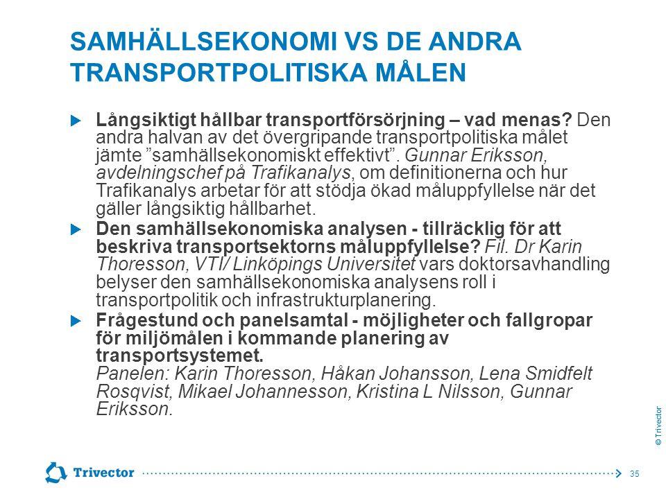 © Trivector SAMHÄLLSEKONOMI VS DE ANDRA TRANSPORTPOLITISKA MÅLEN  Långsiktigt hållbar transportförsörjning – vad menas? Den andra halvan av det överg