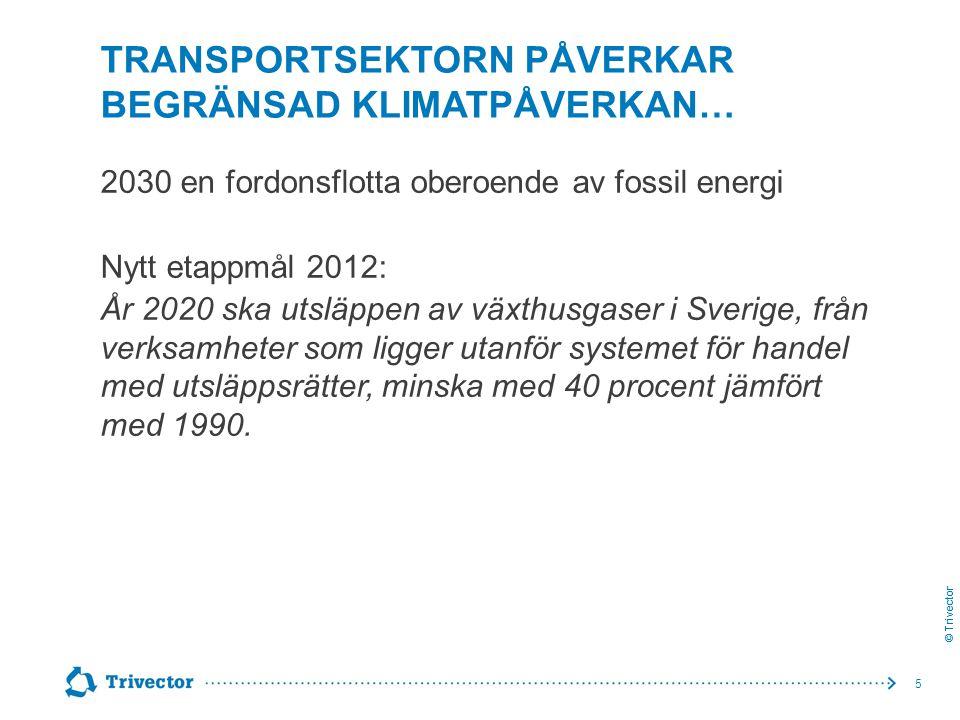 © Trivector TRANSPORTSEKTORN PÅVERKAR BEGRÄNSAD KLIMATPÅVERKAN… 2030 en fordonsflotta oberoende av fossil energi Nytt etappmål 2012: År 2020 ska utslä