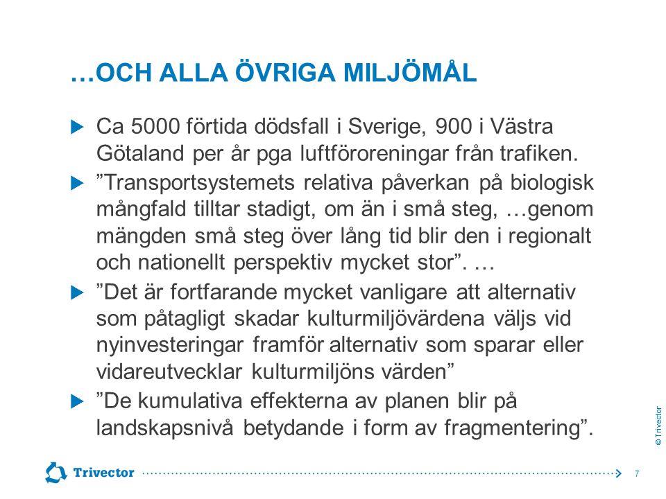 """© Trivector …OCH ALLA ÖVRIGA MILJÖMÅL  Ca 5000 förtida dödsfall i Sverige, 900 i Västra Götaland per år pga luftföroreningar från trafiken.  """"Transp"""
