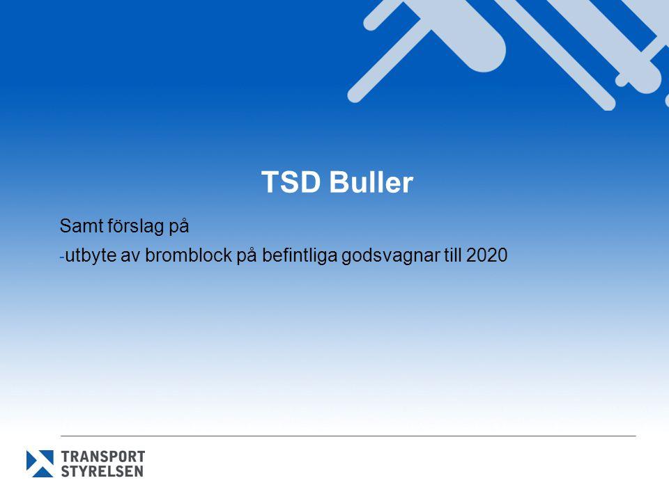 TSD Buller Samt förslag på - utbyte av bromblock på befintliga godsvagnar till 2020