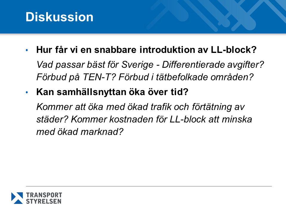 Diskussion Hur får vi en snabbare introduktion av LL-block? Vad passar bäst för Sverige - Differentierade avgifter? Förbud på TEN-T? Förbud i tätbefol