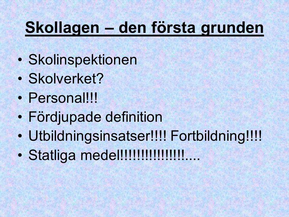 Skollagen – den första grunden Skolinspektionen Skolverket? Personal!!! Fördjupade definition Utbildningsinsatser!!!! Fortbildning!!!! Statliga medel!