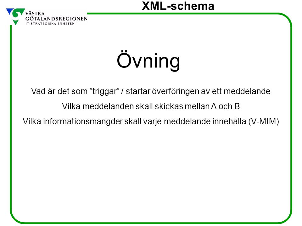 """XML-schema Övning Vad är det som """"triggar"""" / startar överföringen av ett meddelande Vilka meddelanden skall skickas mellan A och B Vilka informationsm"""