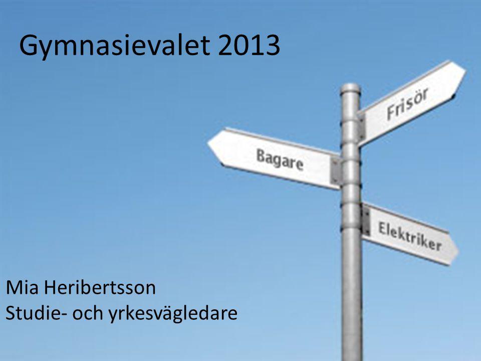 Gymnasievalet 2013 Mia Heribertsson Studie- och yrkesvägledare