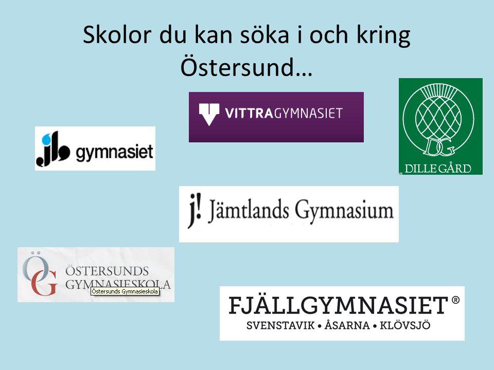 Skolor du kan söka i och kring Östersund…