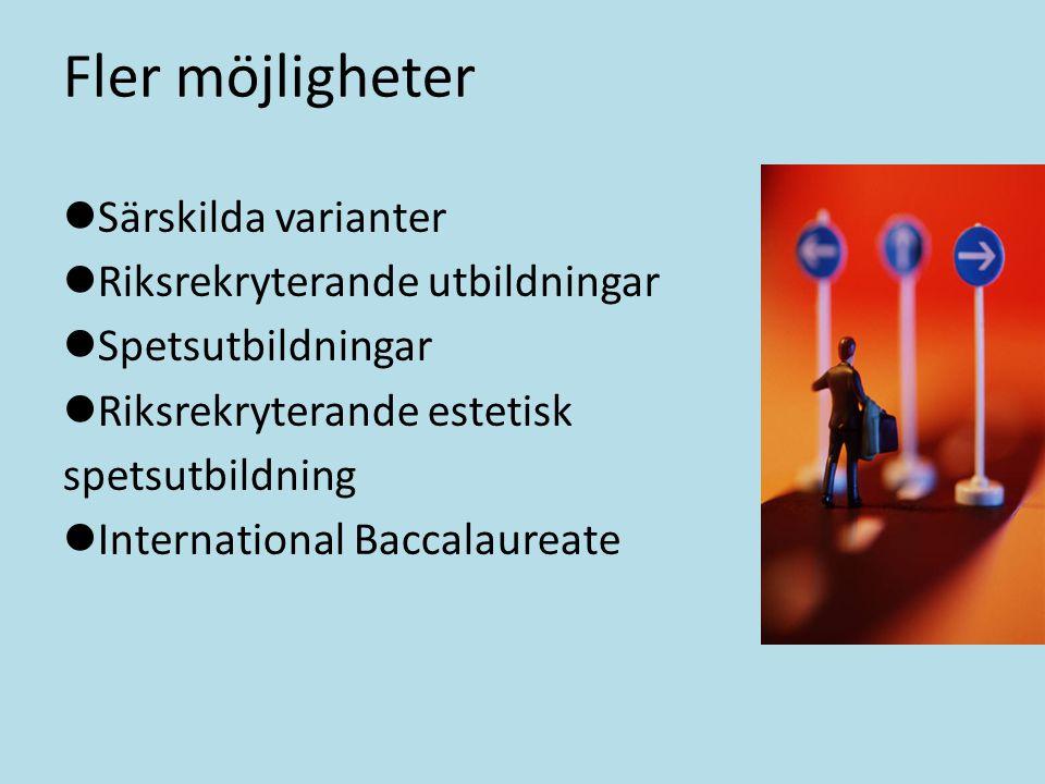 Fler möjligheter Särskilda varianter Riksrekryterande utbildningar Spetsutbildningar Riksrekryterande estetisk spetsutbildning International Baccalaur