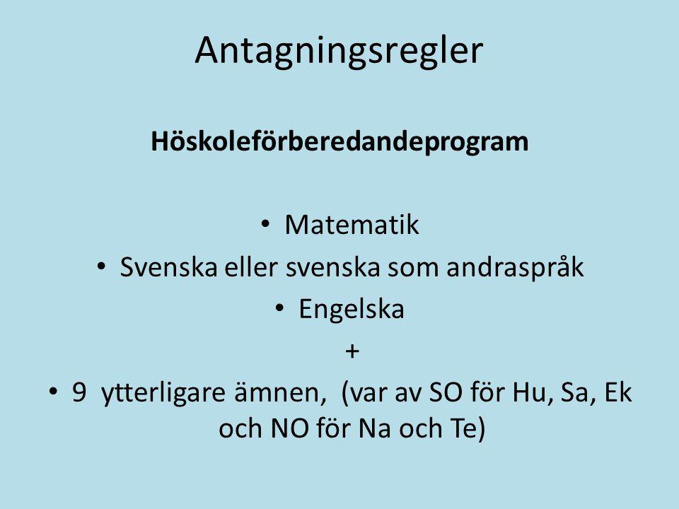 Antagningsregler Höskoleförberedandeprogram Matematik Svenska eller svenska som andraspråk Engelska + 9 ytterligare ämnen, (var av SO för Hu, Sa, Ek o