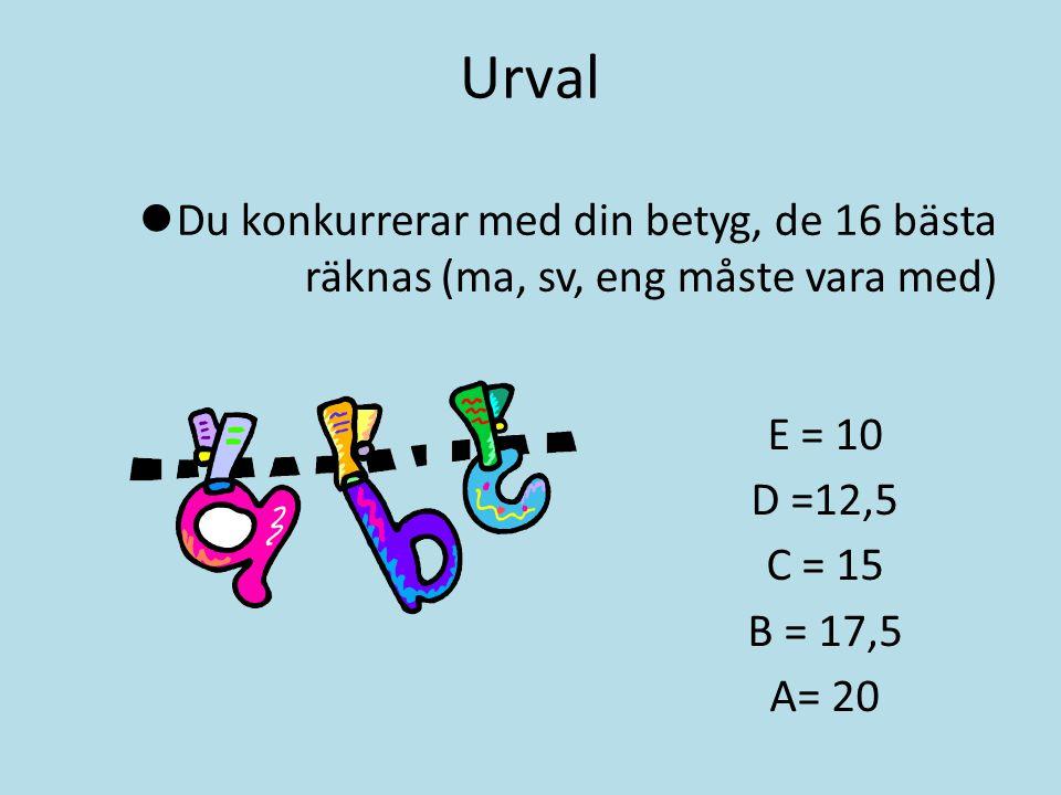 Urval Du konkurrerar med din betyg, de 16 bästa räknas (ma, sv, eng måste vara med) E = 10 D =12,5 C = 15 B = 17,5 A= 20