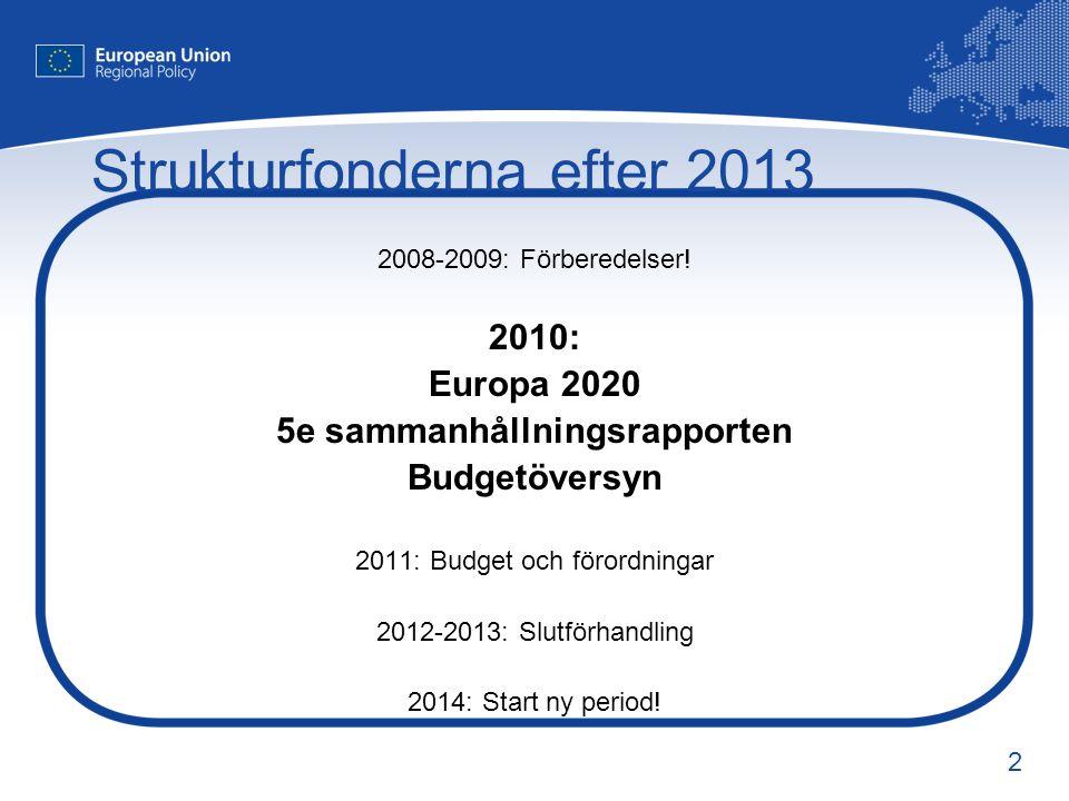 2 Strukturfonderna efter 2013 2008-2009: Förberedelser! 2010: Europa 2020 5e sammanhållningsrapporten Budgetöversyn 2011: Budget och förordningar 2012
