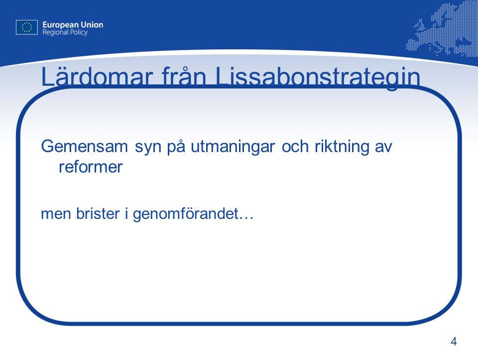 4 Lärdomar från Lissabonstrategin Gemensam syn på utmaningar och riktning av reformer men brister i genomförandet…