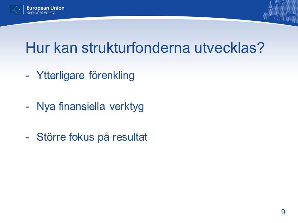 9 Hur kan strukturfonderna utvecklas? -Ytterligare förenkling -Nya finansiella verktyg -Större fokus på resultat