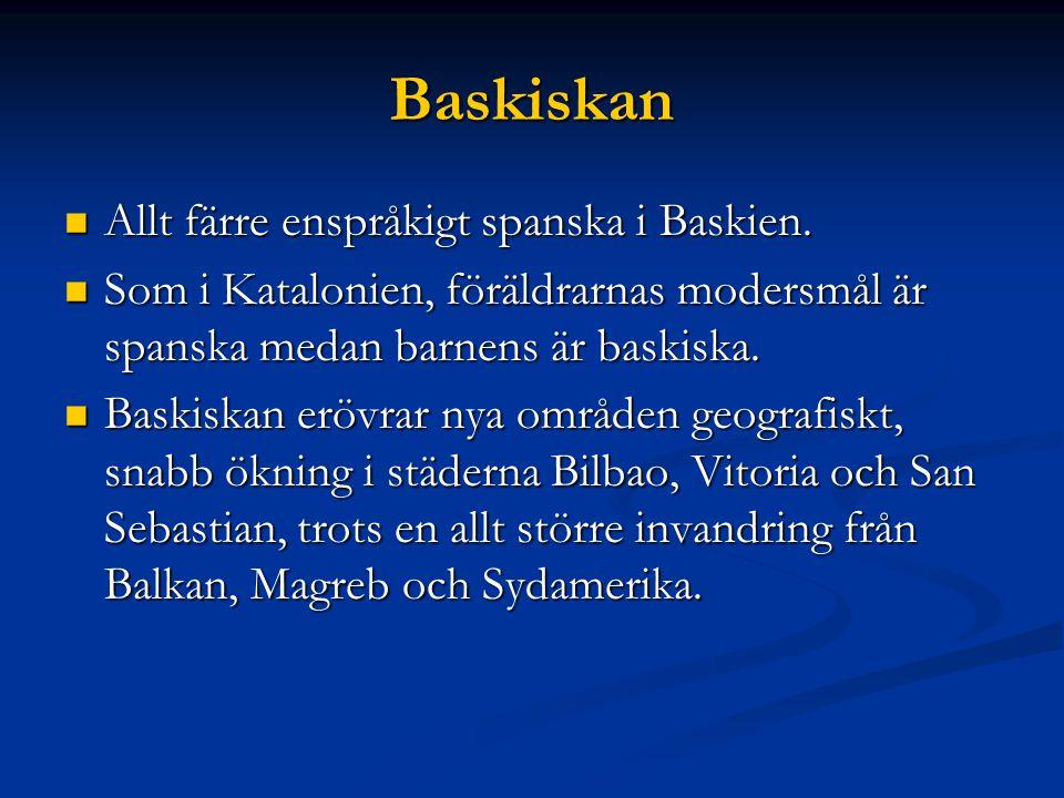 Baskiskan Allt färre enspråkigt spanska i Baskien.