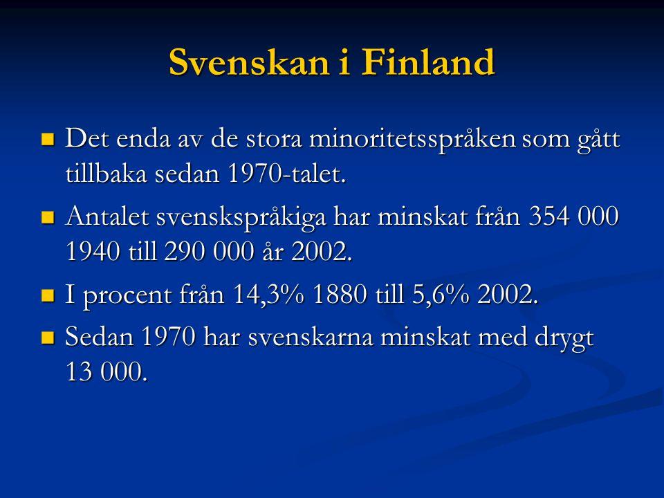 Svenskan i Finland Det enda av de stora minoritetsspråken som gått tillbaka sedan 1970-talet.