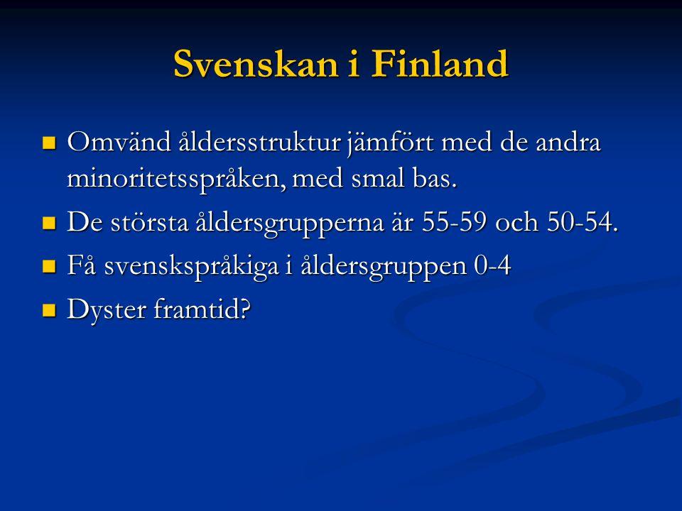 Svenskan i Finland Omvänd åldersstruktur jämfört med de andra minoritetsspråken, med smal bas.