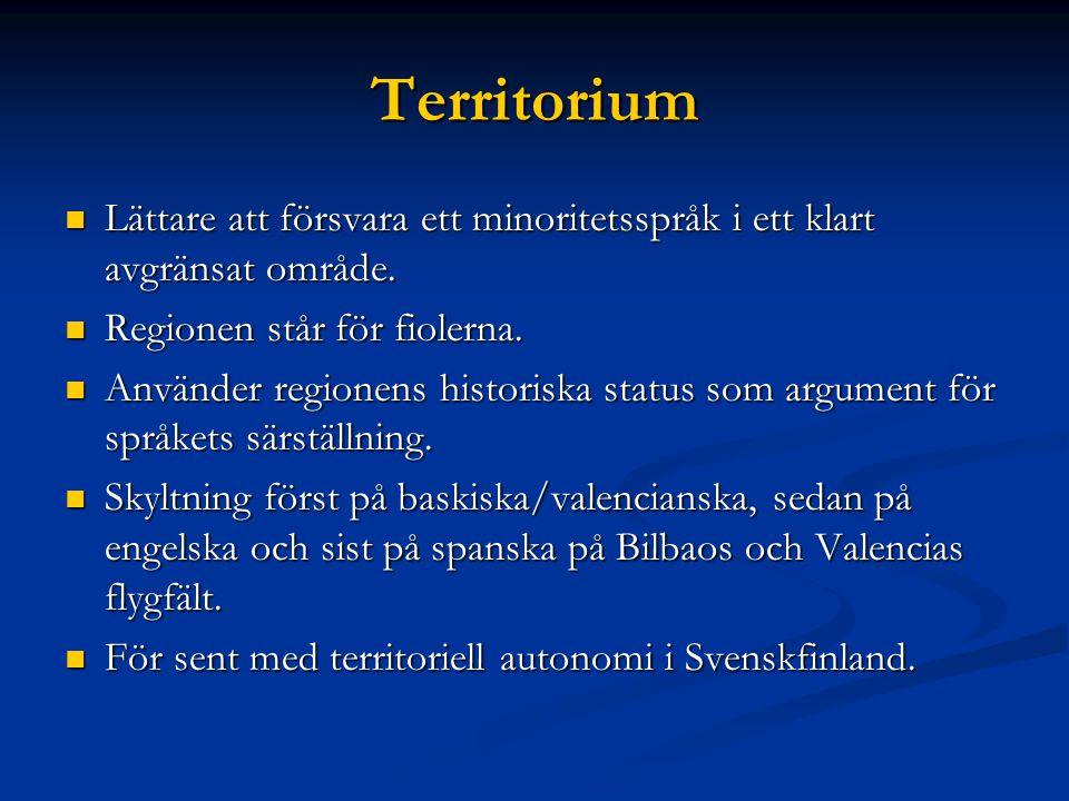 Territorium Lättare att försvara ett minoritetsspråk i ett klart avgränsat område.