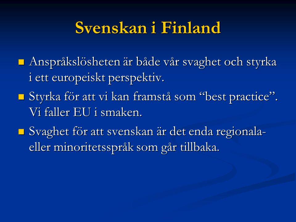 Svenskan i Finlands bedrövliga situation i Europeisk jämförelse.