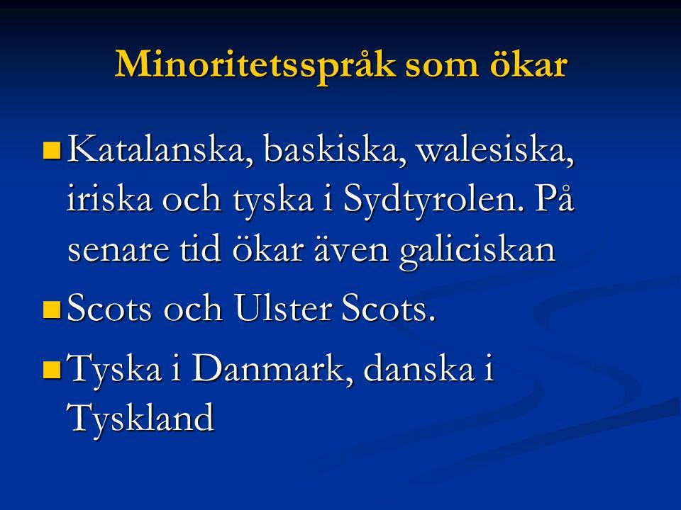 Minoritetsspråk som ökar Katalanska, baskiska, walesiska, iriska och tyska i Sydtyrolen.