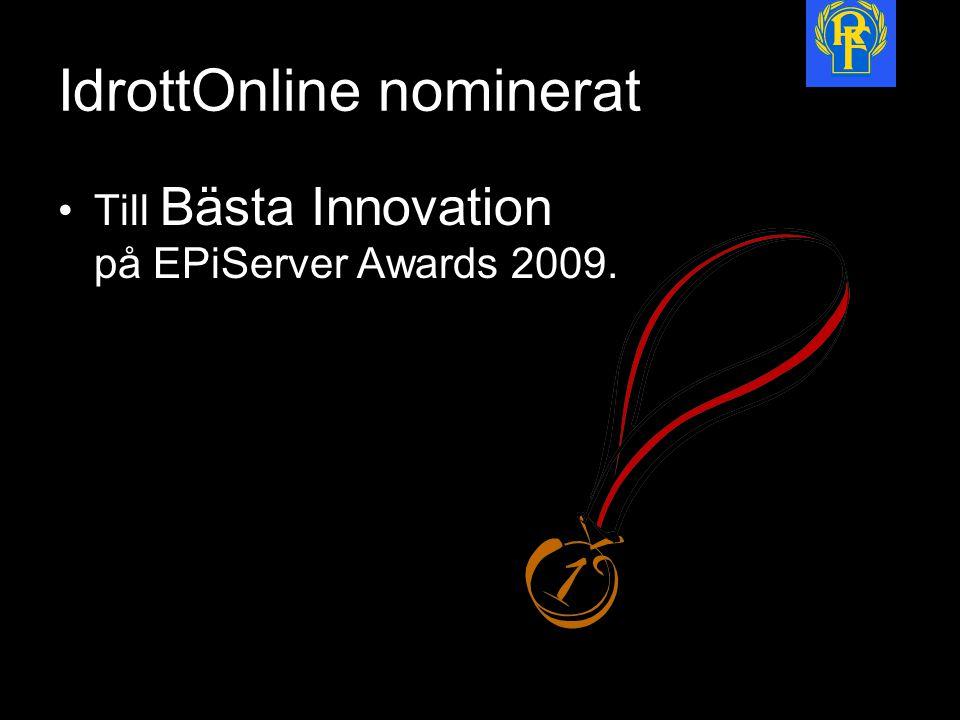 IdrottOnline nominerat Till Bästa Innovation på EPiServer Awards 2009.