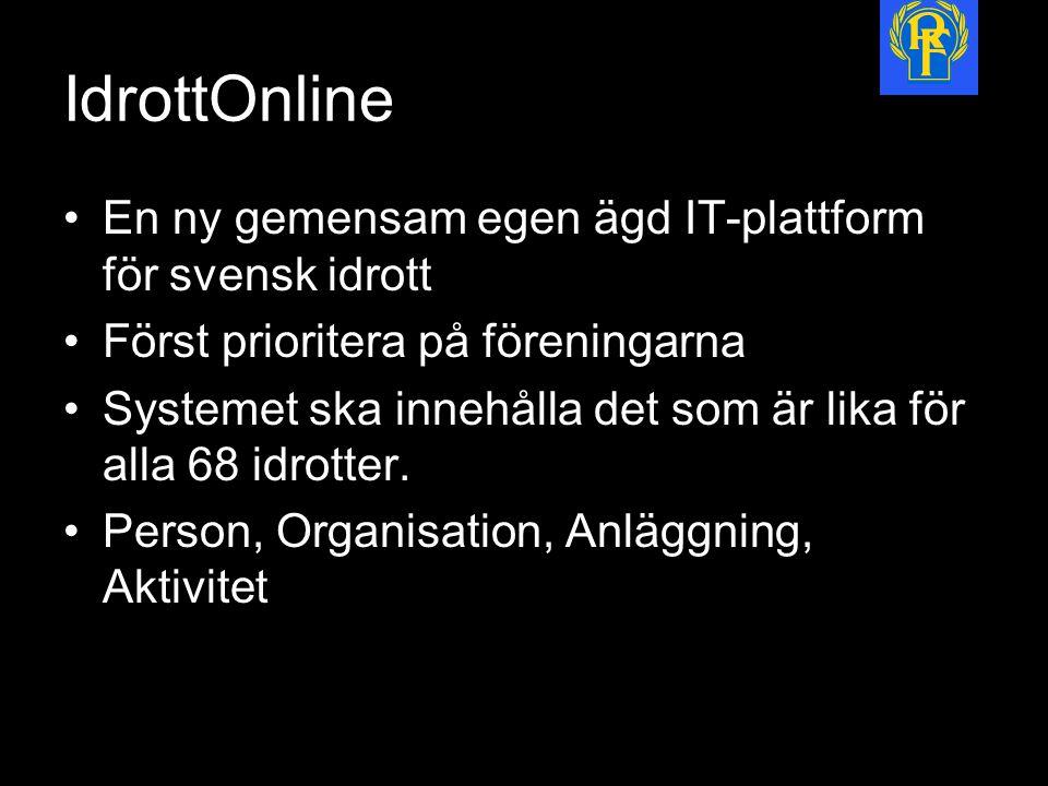 IdrottOnline En ny gemensam egen ägd IT-plattform för svensk idrott Först prioritera på föreningarna Systemet ska innehålla det som är lika för alla 68 idrotter.