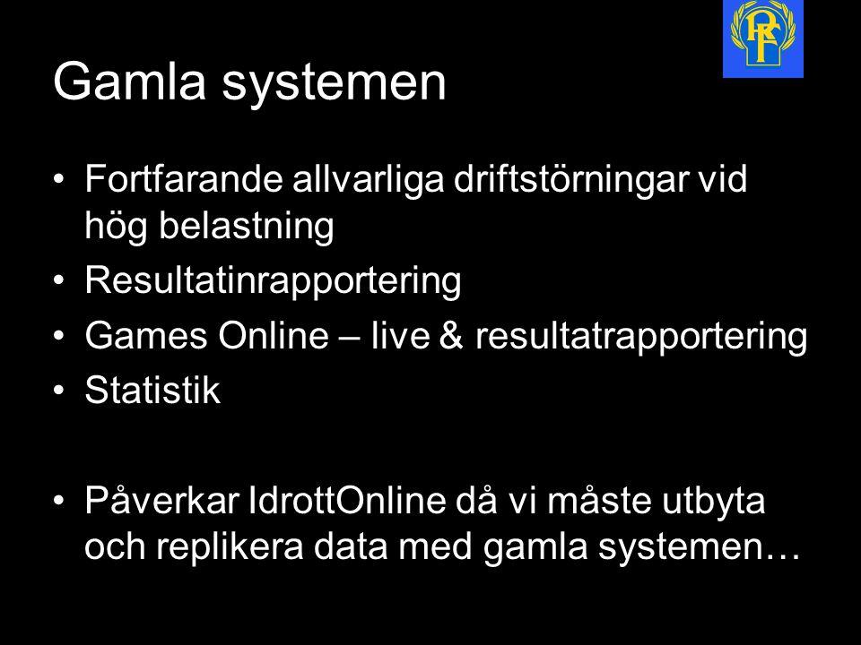 Gamla systemen Fortfarande allvarliga driftstörningar vid hög belastning Resultatinrapportering Games Online – live & resultatrapportering Statistik Påverkar IdrottOnline då vi måste utbyta och replikera data med gamla systemen…