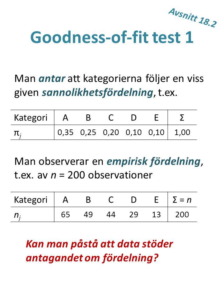 Goodness-of-fit test 1 Man antar att kategorierna följer en viss given sannolikhetsfördelning, t.ex. Man observerar en empirisk fördelning, t.ex. av n