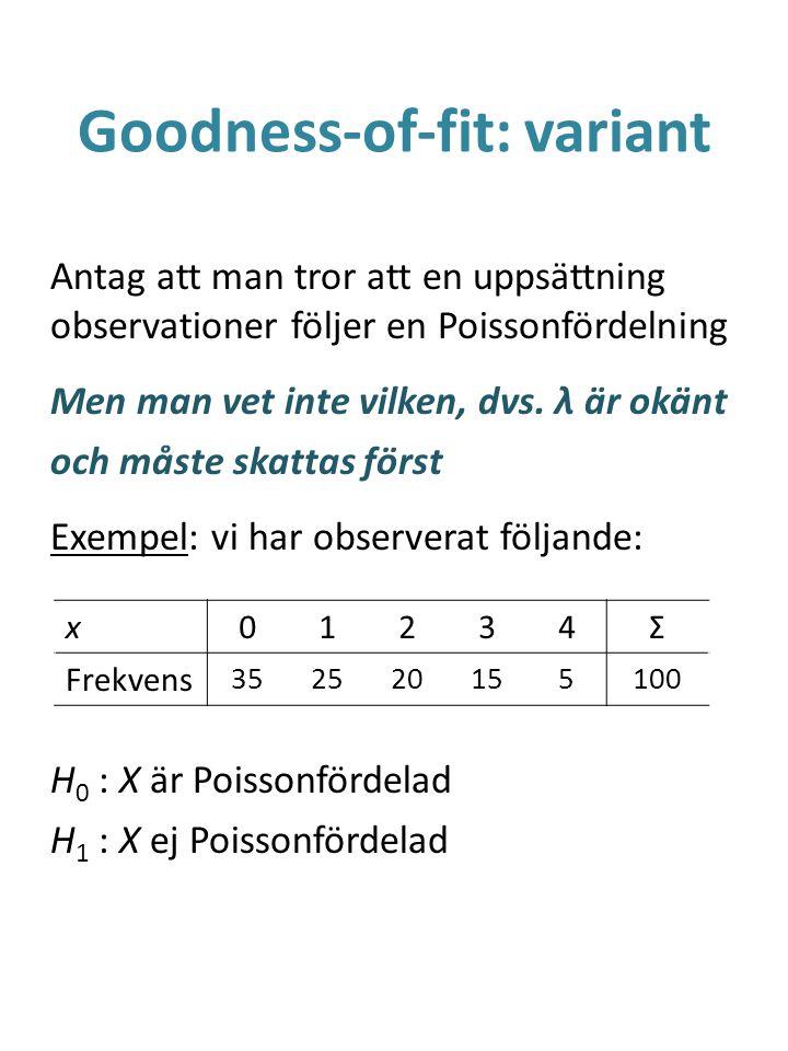 Goodness-of-fit: variant Antag att man tror att en uppsättning observationer följer en Poissonfördelning Men man vet inte vilken, dvs. λ är okänt och