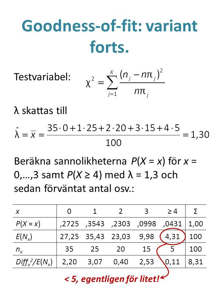Goodness-of-fit: variant forts. Testvariabel: λ skattas till Beräkna sannolikheterna P(X = x) för x = 0,…,3 samt P(X ≥ 4) med λ = 1,3 och sedan förvän