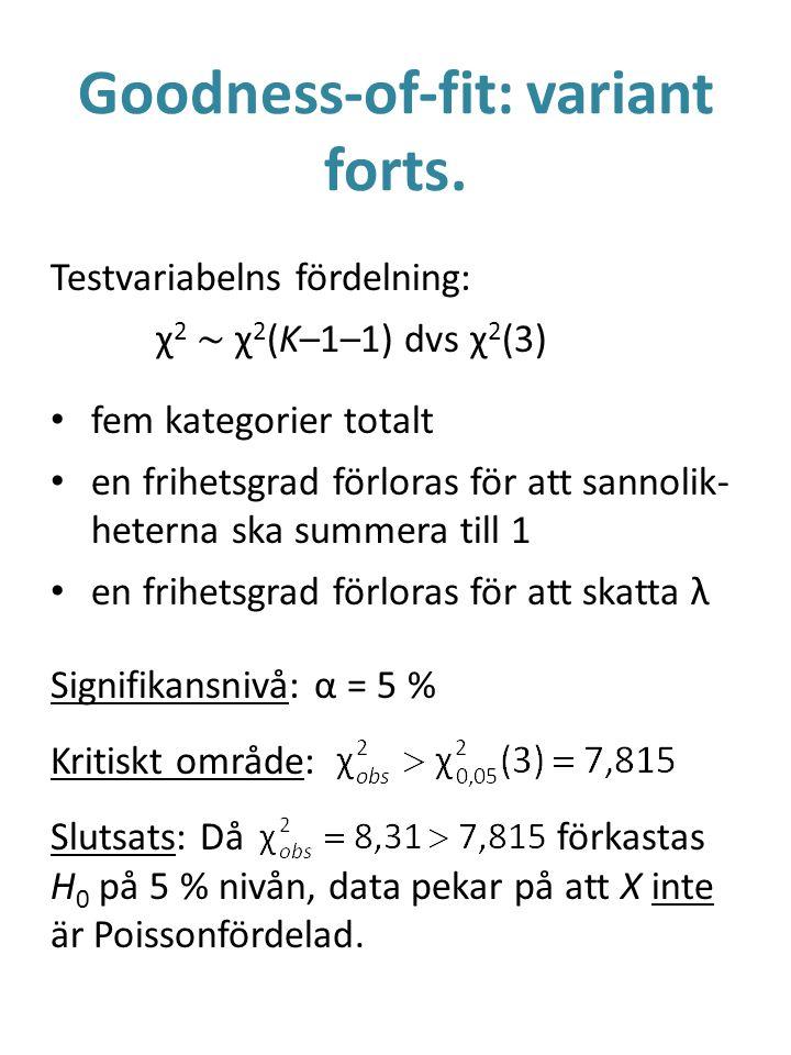 Goodness-of-fit: variant forts. Testvariabelns fördelning: χ 2 ~ χ 2 (K–1–1) dvs χ 2 (3) fem kategorier totalt en frihetsgrad förloras för att sannoli