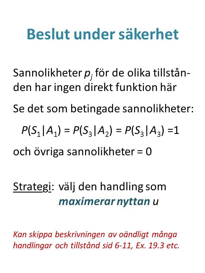 Beslut under säkerhet Sannolikheter p j för de olika tillstån- den har ingen direkt funktion här Se det som betingade sannolikheter: P(S 1 |A 1 ) = P(