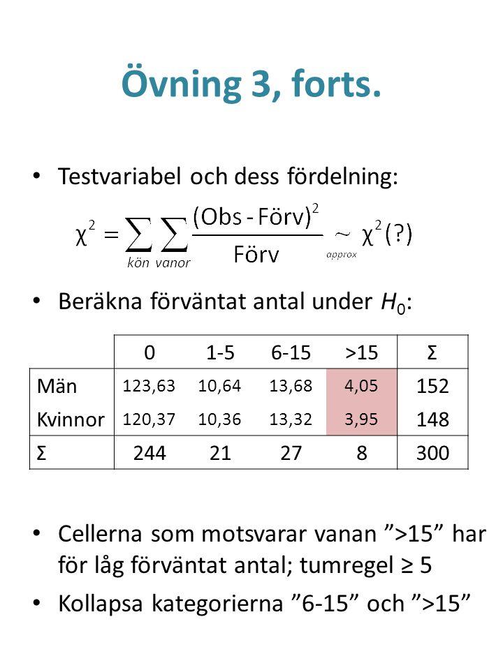 """Övning 3, forts. Testvariabel och dess fördelning: Beräkna förväntat antal under H 0 : Cellerna som motsvarar vanan """">15"""" har för låg förväntat antal;"""