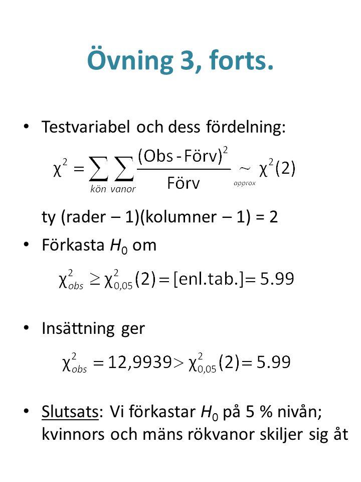 Övning 3, forts. Testvariabel och dess fördelning: ty (rader – 1)(kolumner – 1) = 2 Förkasta H 0 om Insättning ger Slutsats: Vi förkastar H 0 på 5 % n