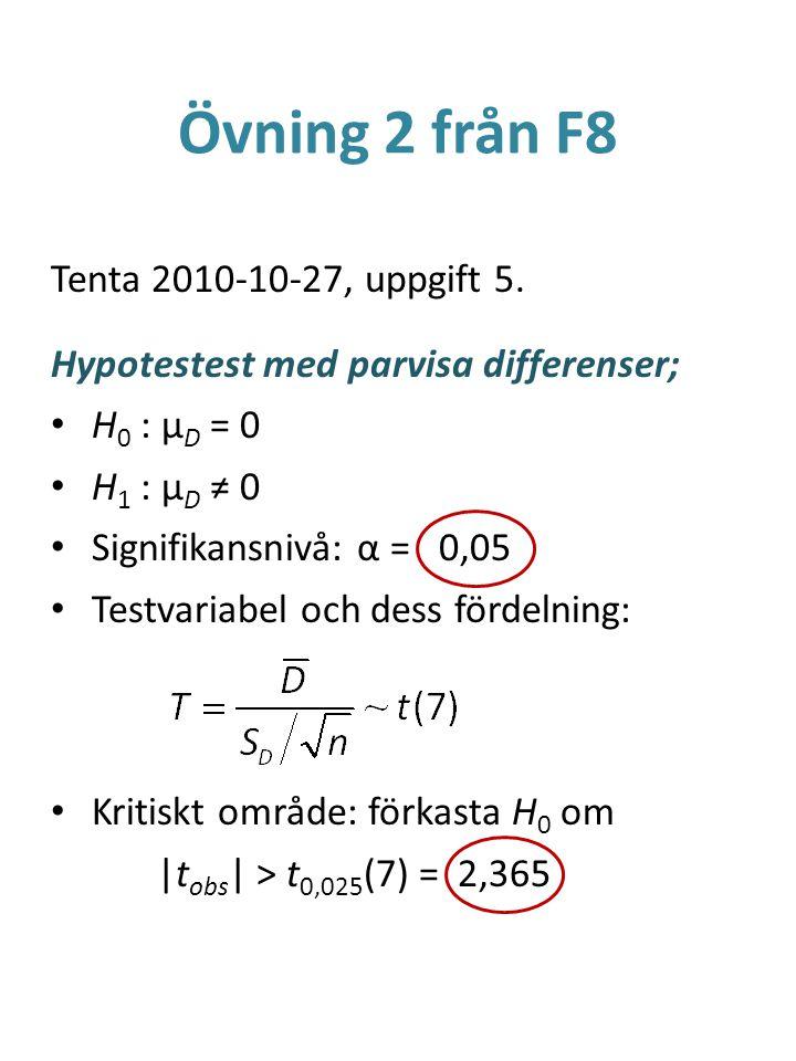 Övning 2 från F8 Tenta 2010-10-27, uppgift 5. Hypotestest med parvisa differenser; H 0 : μ D = 0 H 1 : μ D ≠ 0 Signifikansnivå: α = 0,05 Testvariabel