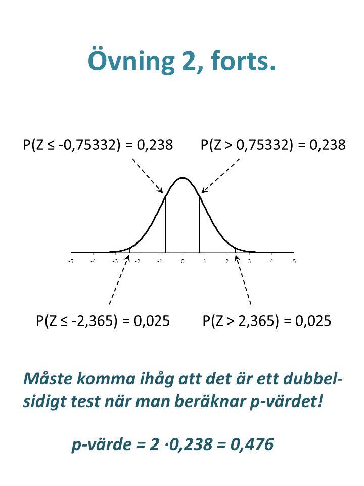 Övning 2, forts. P(Z ≤ -0,75332) = 0,238 P(Z ≤ -2,365) = 0,025P(Z > 2,365) = 0,025 P(Z > 0,75332) = 0,238 Måste komma ihåg att det är ett dubbel- sidi