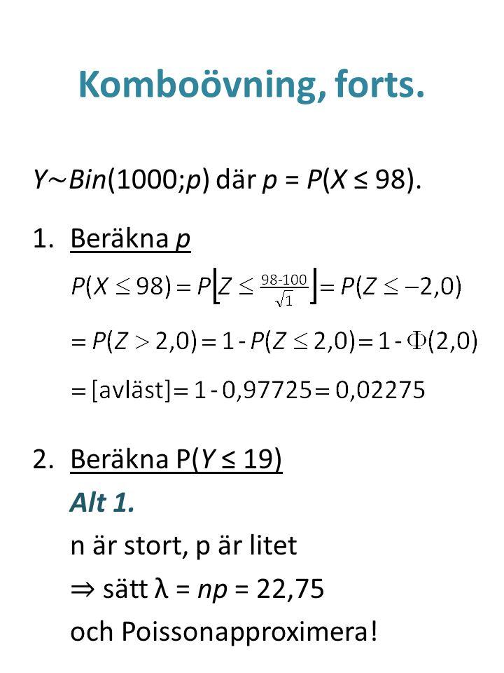 Komboövning, forts.Y ~ Bin(1000;p) där p = P(X ≤ 98).
