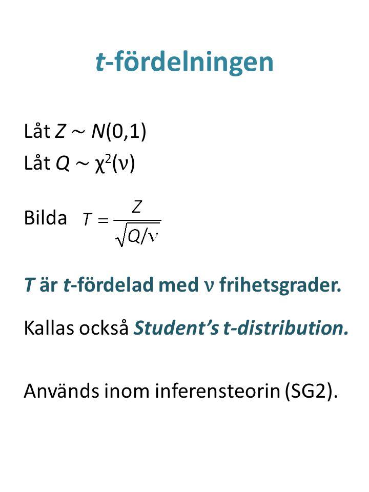 t-fördelningen Låt Z ~ N(0,1) Låt Q ~ χ 2 ( ν ) Bilda T är t-fördelad med ν frihetsgrader.