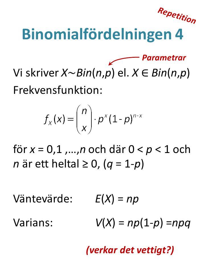 Binomialfördelningen 4 Vi skriver X ~ Bin(n,p) el.